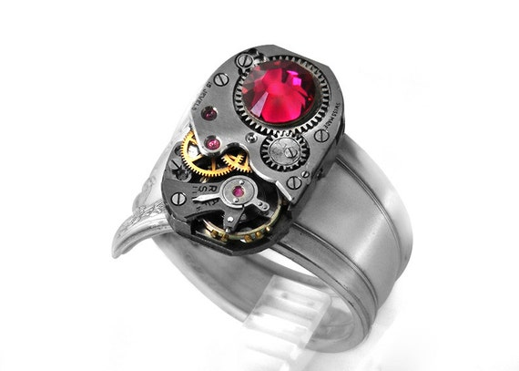 RESERVED for RLP / Steampunk Ring, Ruby Crystal & Vintage Watch Mechanism Vintage Silver Spoon Ring Band Ring size 9.5 - 10