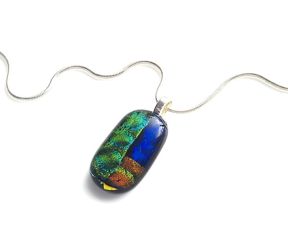 Men's Necklace - Multi-color Dichroic Fused Glass Pendant