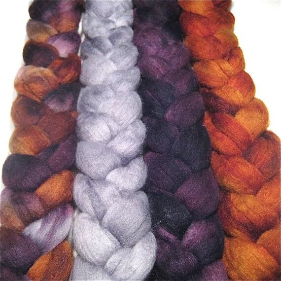 Wonder Bundle Polwarth & tussah silk roving 8.9 oz Enchanted Forest