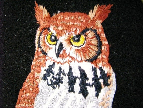 vintage Needlepoint Owl in Oval Frame - Great Horned owl sitting on a branch