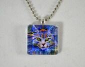 SALE: Cat Necklace- Glass Tile