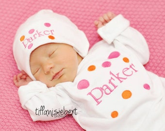 Personalized Baby Girl Gift Set Bodysuit or Gown with hat