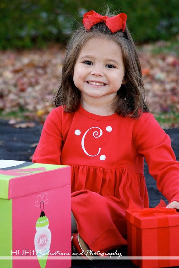 Personalized Christmas Valentines Day Red Dress with Initial and Dots