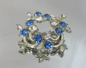 Vintage Rhinestone Brooch. Blue and Clear Cluster.