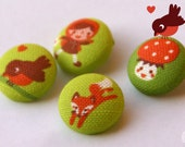 Little Red Riding Hood fabric buttons
