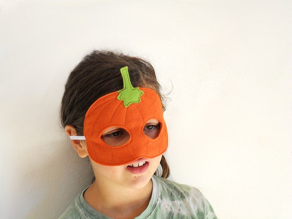 Halloween Pumpkin Mask for Children, Kids Mask,  Costume Accessory,Toddler Pretend Play Waldorf Toy, Halloween Costume, Carnival Mask