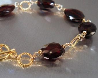 Garnet Bracelet, Large Chunky Garnet Gemstone Nuggets, Vermeil and Gold Filled Links