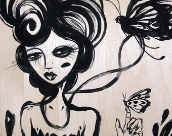 Girl & Monarch Butterfly art black natural wood graphic illustrative whimsical painting print
