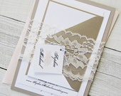 Peach Peony Wedding Invitation - Vintage Grey Elegant Lace, Gold Twine Pink Flower Floral - Sample