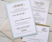Baroque Wedding Invitations - Vintage Glamour Gold Border Elegant Pink Blue Ribbon.  Purchase this Deposit to get started.