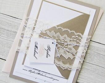 Peach Peony Wedding Invitation - Vintage Grey Elegant Lace, Gold Twine Pink Flower Floral - Sample