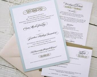 Baroque Wedding Invitations - Vintage Glamour Gold Border Elegant Pink Blue Ribbon.  Purchase this Deposit to get started.