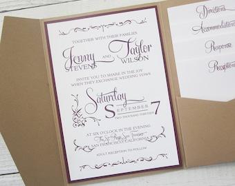Rustic Kraft Wedding Invitation - Pocket Country Twine Purple Maroon Elegant. Purchase this Deposit to get started.