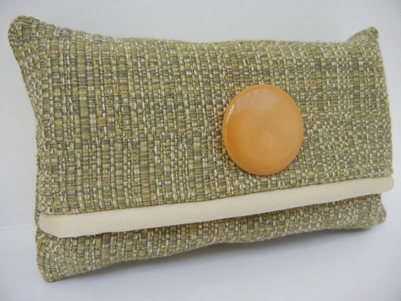 Pocket Tissue Cover - Tissue Holder with Vintage Button - Tissues Included