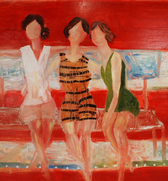 """Large Original red modern beach oil painting on wood canvas art  - """"Sitting with friends"""""""