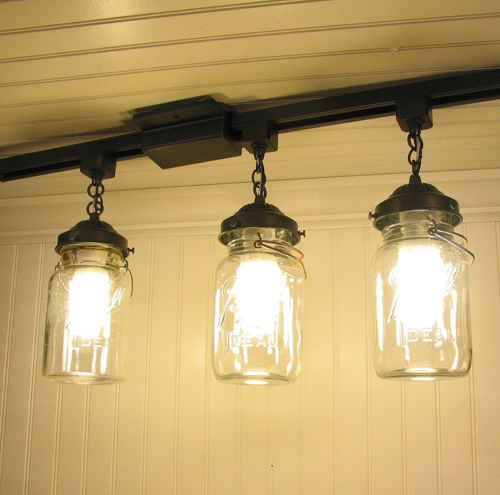 Ceiling Track Lights For Kitchen : Vintage canning jar track lighting created new for by