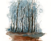 Fall Forest Print from my original watercolor painting 8x10 inch