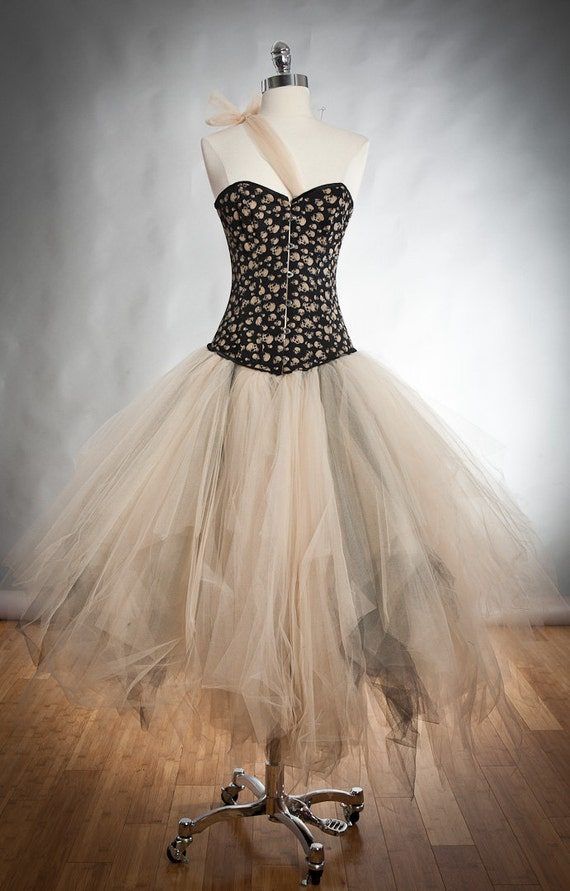 Size small ivory and black skulls and tulle burlesque prom dress witch costume Ready to Ship