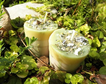 Ritual Candles - Two (2) Green Fairy Visions Loaded Soy Votives Herbal Faeries and Devic Spirits