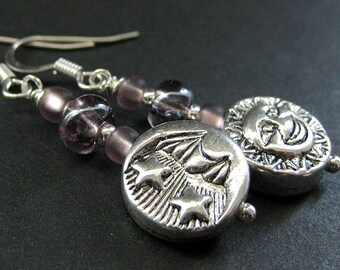 Beaded Earrings, Sun and Moon Earrings. Celestial Earrings in Purple and Silver. Handmade Jewelry by Gilliauna
