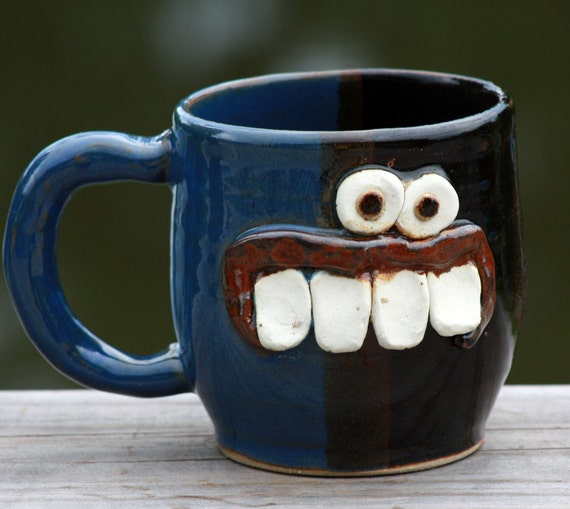 Large Coffee Mug, Blue and Black