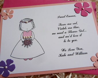 Will You Be My Flower Girl Invitation - 1 flat card with envelope