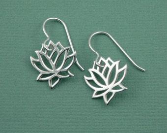 Lotus Earrings - Lotus Flower Sterling Silver Earrings - Silver Dangle Earrings, Trendy Earrings, Gift for Girlfriend, Gift for Mom