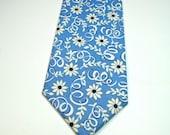 Blue Floral Necktie Cornflower Blue Necktie Mens Necktie Custom Neckties Cotton Necktie