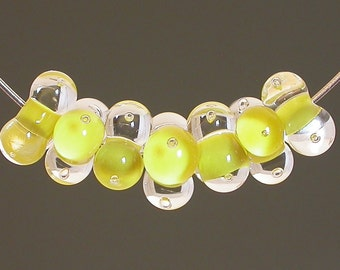 Lampwork Glass Beads, artisan lampwork beads, water beads, yellow and clear with bubbles, lampwork beads, glass lampwork beads, focal beads