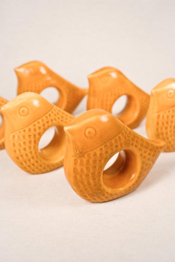 Set of Six, 1960s Danish Modern Pottery Bird Napkin Holders Mustard Gold