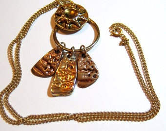 vintage necklace, gold tone chain necklace with dangle silver and gold tone pendant