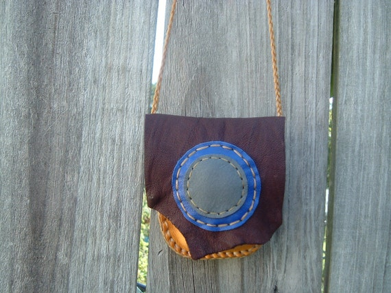 Honey Colored Deerskin and Dark Chocolate Colored Antelope Skin Leather Medicine Bag with a Flap