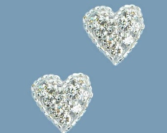 "XR136  Set of ( 2 ) Heart Crystal Beaded Rhinestone Appliques .75""  (XR136-slcr)"