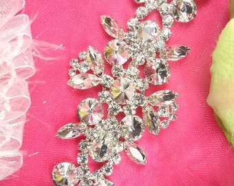 "XR163 Silver Crystal Rhinestone Applique Embellishment 8"" (XR163-slcr)"