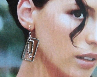Cool Rectangle Dangle Earrings - Silver Dangle Earrings