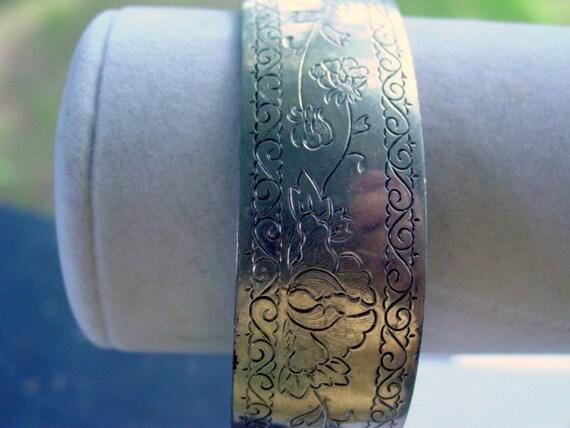 Vintage Spring Peony Cuff Bracelet Signed Designer Kirk Stieff Pewter Vintage Jewelry Jewellery