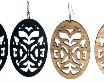Tribal Oval Bamboo Earrings-Very Light KSE12011