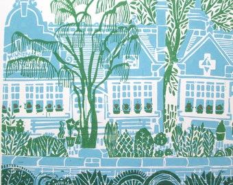 Almshouses linocut print.
