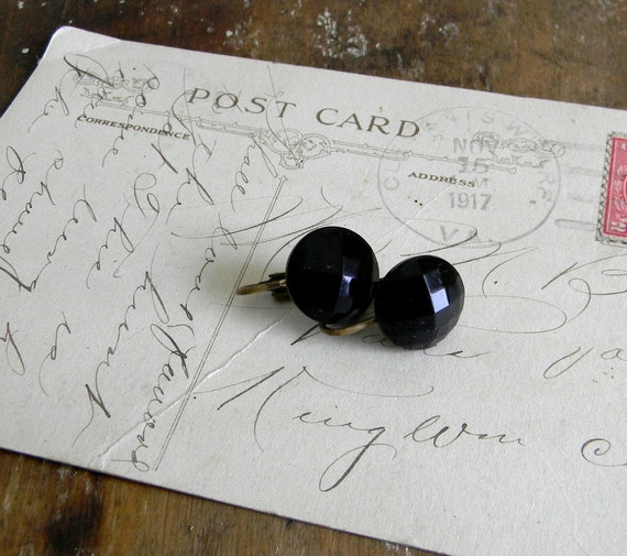 Vintage Clip On Earrings Black Glass Earrings 1940s FREE US Shipping