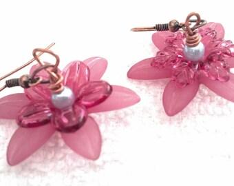 Flower Earrings, Dangley Pink Earrings, Romantic Earrings