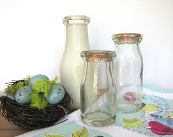 Vintage Milk Bottles Set of 3 Farmhouse Home Decor