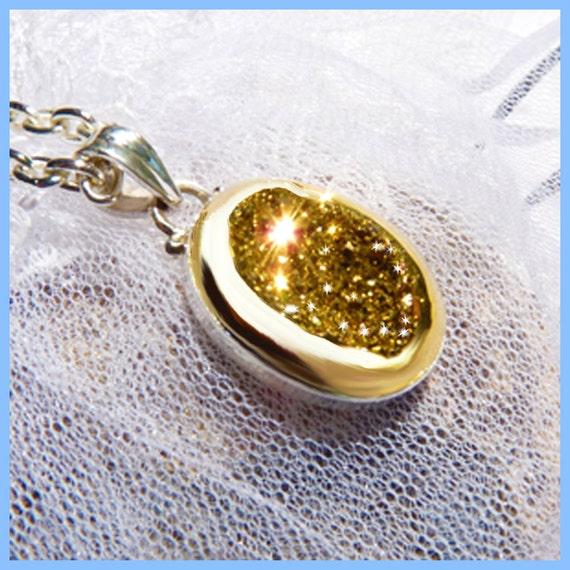 Diamond Sparkle Gold Titanium Druzy - Necklace  C 7264