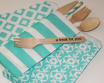 Cutlery Bag, 20 Aqua Sailor Stripe Silverware Bags, Wedding Buffet Bags, Paper Bags, Favor Bags, Buffet Utensil Bags, Flatware, Utensil Bags