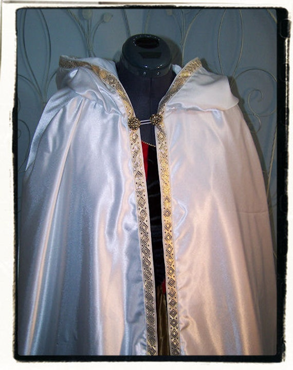 White Satin and Gold Wedding Cape Renaissance Medieval Costume