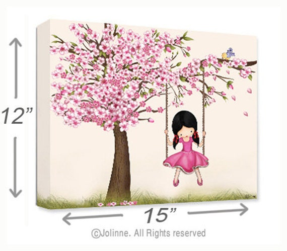 Items similar to canvas print kids wall art girls room 12 x15 cherry blossom tree girl for Canvas prints childrens bedrooms