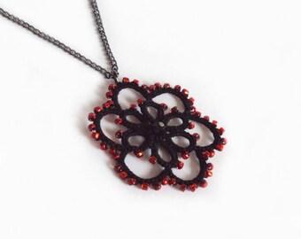 Goth Black , Red Beaded Flower Pendant in Tatting - Aster