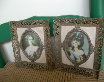 Lovely Pair of Antique Cast Metal Filigree frames, Rare design with oval picture holder, Gorgeous Pair