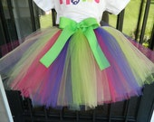 Girls Rainbow Colored TuTu Skirt Custom Colors Purple Pink Yellow Green Lime Red Blue 2t 3t 4t