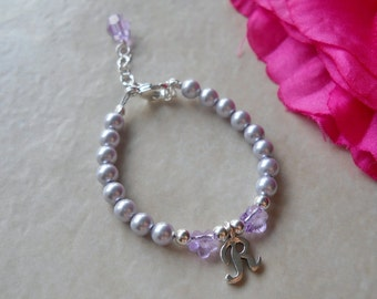 Sterling Script Initial Bracelet with Swarovski Flowers and Pearls B095