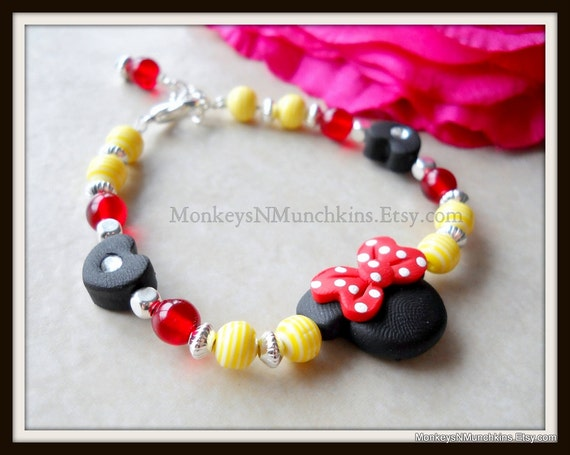 Mouse Bracelet Red and Yellow with Polka Dots Polymer Clay B003